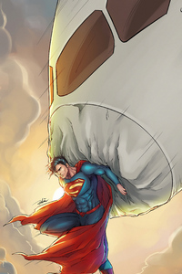 1280x2120 Superman Saving Plane