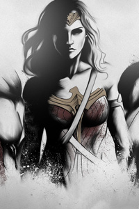 320x568 Superman Wonder Woman Batman Art Sketch 4k