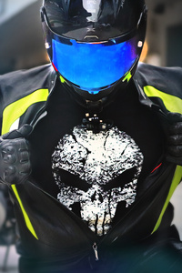 1440x2960 Suzuki Hayabusa Rider Wearing Punisher T Shirt