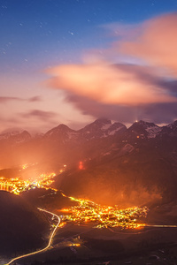 1125x2436 Switzerland Night 4k