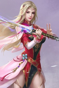 1080x2160 Sword Girl Fantasy Art