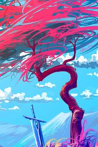 640x960 Sword Tree Landscape Digital Art