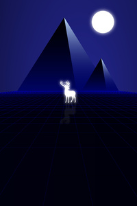 640x1136 Synth Wave Pyramids And Deer 8k