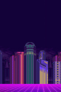 720x1280 Synthwave Buildings 8 Bit