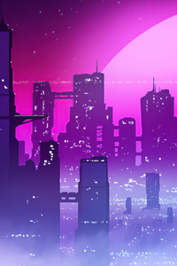 2160x3840 Synthwave City View 4k