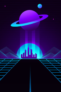 1440x2960 Synthwave Outrun Planet 4k