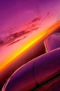 1440x2560 Synthwave Sunset Plane View 4k