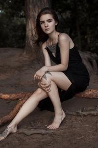 2160x3840 Tattoo Girl In Black Dress
