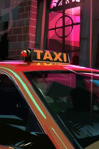 Taxi Digital Art 4k