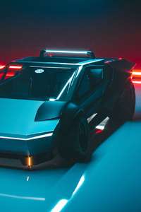 480x800 Tesla Cybertruck Front View Concept 4k