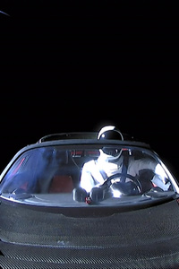 Tesla Roadster In Space With Space Suit Man Space X