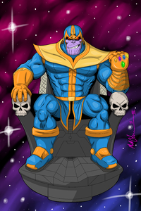 Thanos Comic Cartoon Digital Art 4k