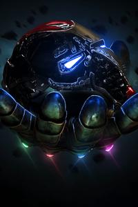 Thanos Infinity Gauntlet Holding Iron Man Mask