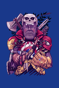 Thanos Wearing Avengers Mask Suit