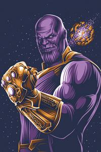 320x568 Thanos With Gauntlet Minimalism 4k