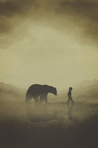 1242x2688 The Bear And The Kid 4k