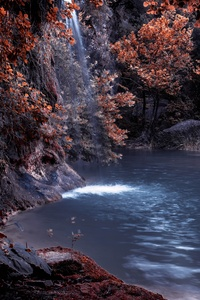 1080x2280 The Blue Lagoon Lake Waterfall Nature Forest Water 5k