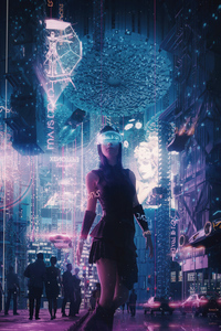 320x568 The Cyber City Girl 4k