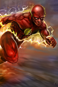 1080x2160 The Flash Running Artwork 5k