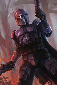 1440x2560 The Mandalorian Art New