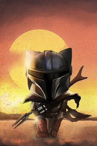 1242x2688 The Mandalorian Cat Style