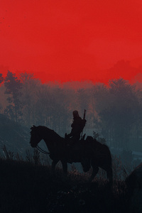 240x400 The Witcher 3 Geralt Silhouette