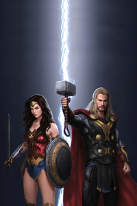 800x1280 Thor And Wonder Woman