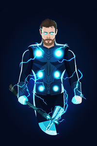 1440x2960 Thor Chris Hemsworth Minimal Art 5k