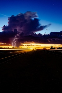 2160x3840 Thunder Storm Lightning Highway Light Trails 5k