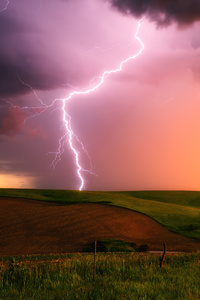 1280x2120 Thunderstorm Lightning Bolt Striking Down At Sunset In Nebraska 4k