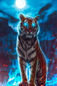 640x960 Tiger Glowing Eyes