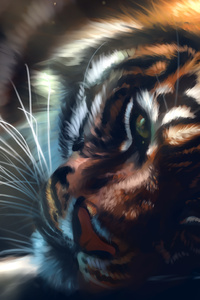 1280x2120 Tiger Lying Down Art