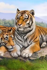 1440x2560 Tigers Art