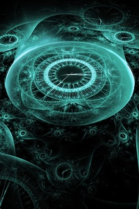 1080x2280 Time Clock Digital Creative Illustration