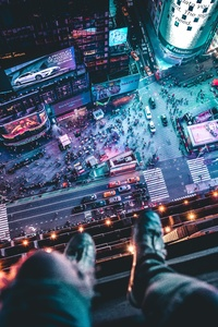 Time Square Aerial View Man Siting At Top 5k