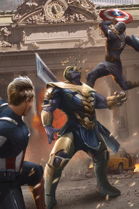 1080x2280 Time Travel Captain Americas Vs Thanos