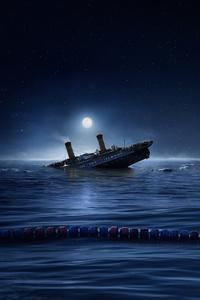 Titanic Ship Alongside Swimmer