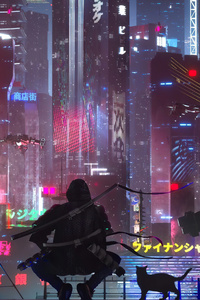 1080x2160 Tokyo Future State Warrior With Cat 4k