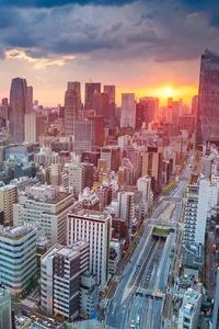 Tokyo Skycrapper Building Sunset Cityscape
