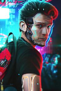 720x1280 Tom Holland In Cyberpunk Style 4k