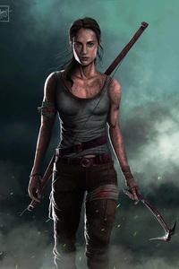 1280x2120 Tomb Raider Alicia Vikander Artwork