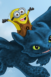 640x1136 Toothless And Minion