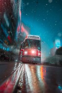 Toronto Tram Vehicle City Night Lights