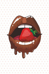 320x480 Tounge Lips Strawberry Minimalist 5k
