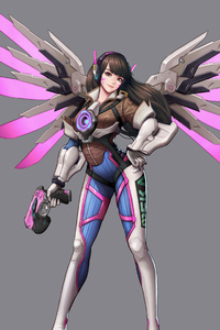 Tracer Mercy Croosover Overwatch Artwork 5k