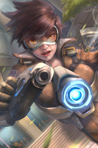 320x480 Tracer Ovewatch Artwork 5k