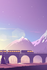 Train Mountains Illustration Minimalistic