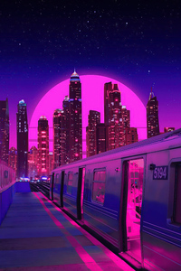 320x480 Train Neon Synthwave Buildings 5k