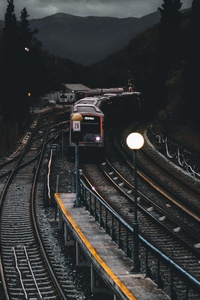 Train Railways Dark Evening Photography