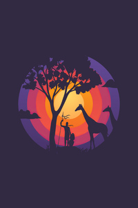 Tree Giraffe Minimalism